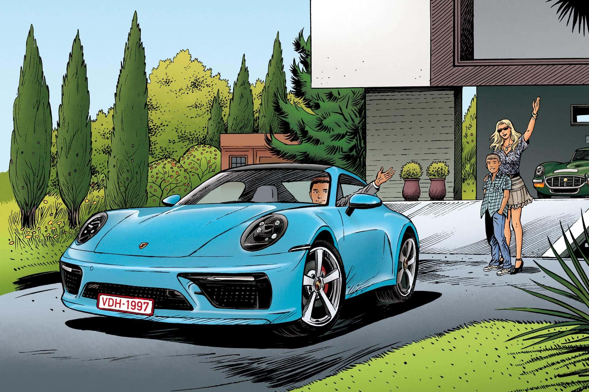 Porsche 911 bleue de Jack V assurée par Vander Haeghen VDH